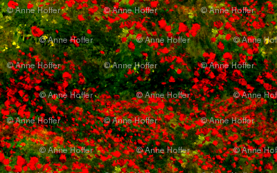 Monet: Poppy Field Poppies Only-Red and Dark Green