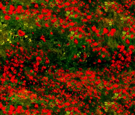 Monet: Poppy Field Poppies Only-Red and Dark Green fabric by ninniku on Spoonflower - custom fabric