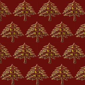 Firs Embossed on Christmas Red