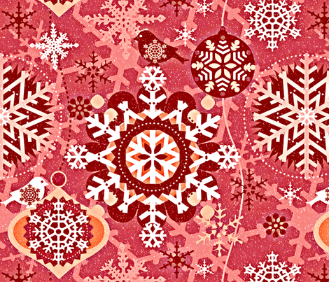 snowflakes in garden red fabric by chicca_besso on Spoonflower - custom fabric