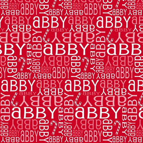 Personalised Name Fabric - Christmas Canes Red