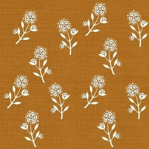 White Delicate Floral on Rust Linen