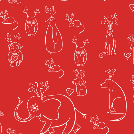 All the animals do Christmas! fabric by samdraws on Spoonflower - custom fabric