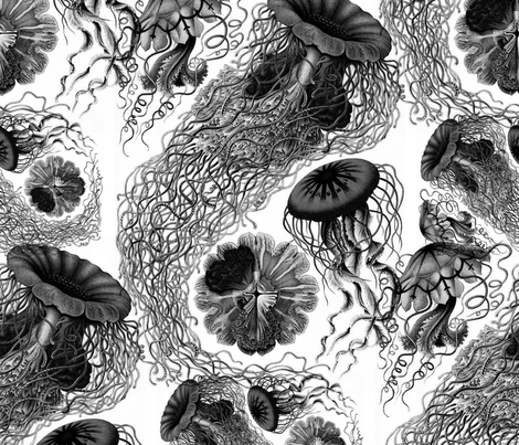 Jellyfish black and white swarm fabric by peacoquettedesigns on spoonflower custom fabric