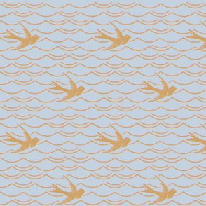 Birds Upon The Sea ~ Versailles Fog with Dauphine and Gilt