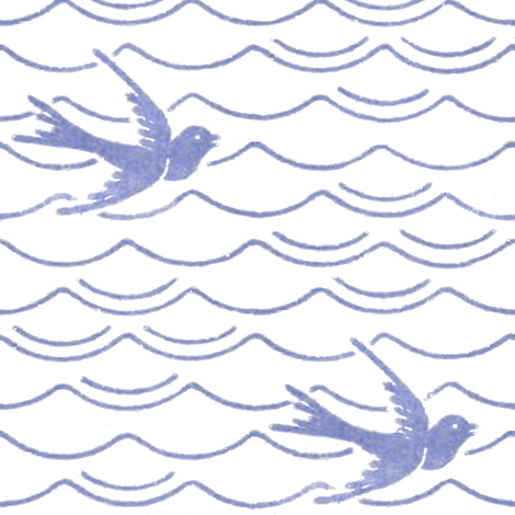 Birds Upon The Sea ~ Blue & White fabric by peacoquettedesigns on Spoonflower - custom fabric