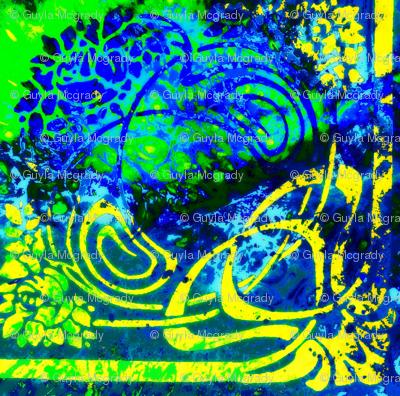 Floral Fantasy-green/blue