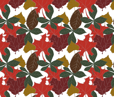Leaves of Fall (white background) fabric by arts_and_herbs on Spoonflower - custom fabric