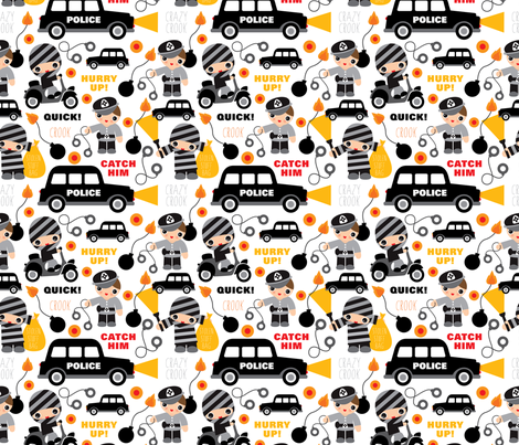 Police man and car catch a thief fabric by littlesmilemakers on Spoonflower - custom fabric