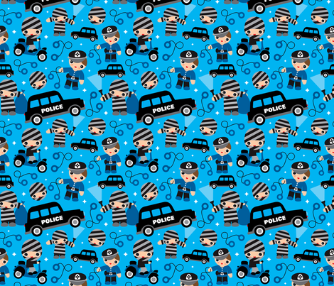 Thiefs cobs and robbers police theme fabric by littlesmilemakers on Spoonflower - custom fabric