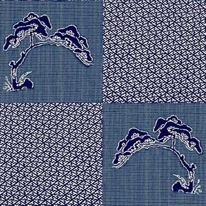 Asian Tree - indigo blue denim