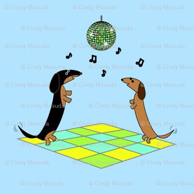 Dancing Dachshunds - Disco Ball by Sudachan - Blue