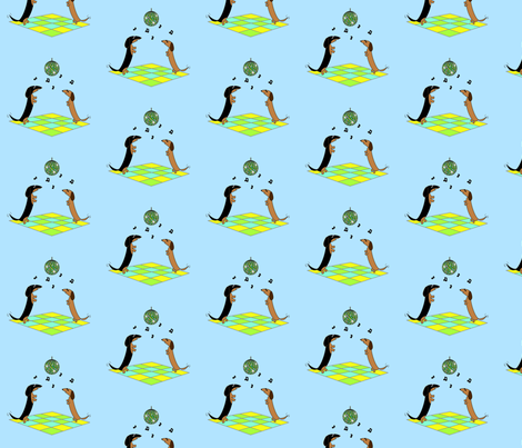 Dancing Dachshunds - Disco Ball by Sudachan - Blue fabric by sudachan on Spoonflower - custom fabric