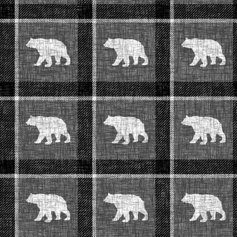 Bear Plaid - dark fabric by thecalvarium on Spoonflower - custom fabric