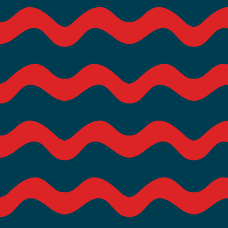Stormy Sea Stripe (navy blue + red) fabric by pattyryboltdesigns on Spoonflower - custom fabric