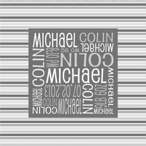 Personalised Birth Cushion Panel - Grey Stripes
