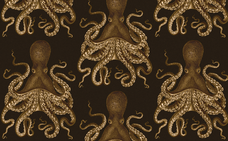 Octopus Oasis Sepia on Black fabric by willowlanetextiles on Spoonflower - custom fabric