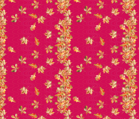 feuille_d_automne_bordure_fuchia_S fabric by nadja_petremand on Spoonflower - custom fabric