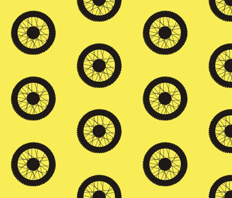 Motocross wheel on classic yellow fabric by pennyroyal on Spoonflower - custom fabric