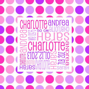 Personalised Birth Cushion Panel - Pink and Purple Spots