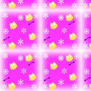Eule schnee pink