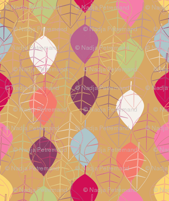 """""""graphic fall leaves beige"""""""