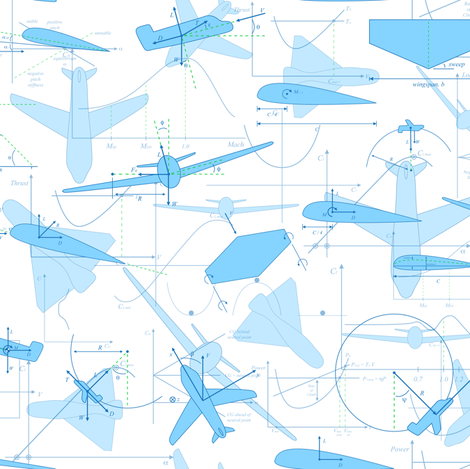 Aerodynamics (Blue & White) fabric by robyriker on Spoonflower - custom fabric