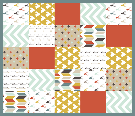 Tribal Deer Patchwork Quilt fabric by mrshervi on Spoonflower - custom fabric