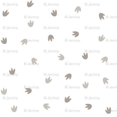 Dino Footprints Ditsy White