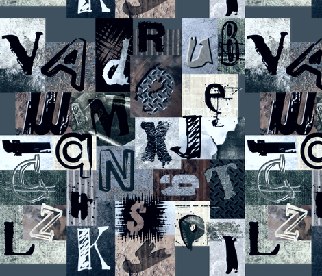 SHATTERED_GLASS_GRUNGE LETTERS fabric by lulutigs on Spoonflower - custom fabric