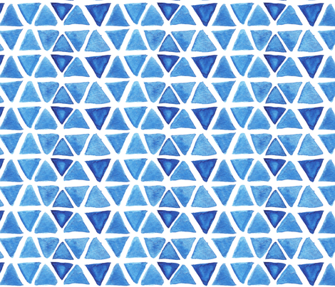 Blue Watercolor Triangles fabric by katebutler on Spoonflower - custom fabric