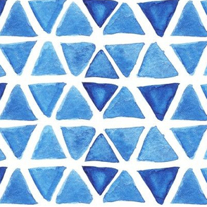 Blue Watercolor Triangles