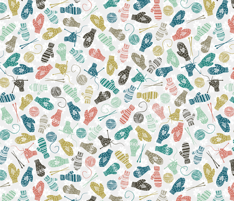 Mitten Knitting Party Tan fabric by radianthomestudio on Spoonflower - custom fabric