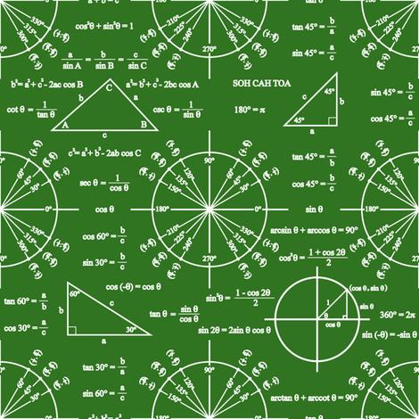 Trig & Triangles (Chalkboard) fabric by robyriker on Spoonflower - custom fabric