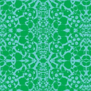 batik in green and aqua