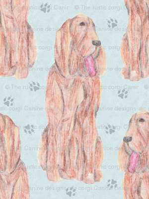 Sitting watercolor Bloodhounds - blue