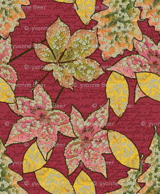 Lace Worked Leaves in Red Dahlia