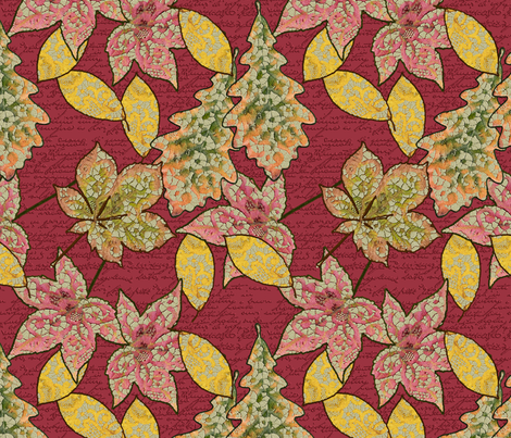 Lace Worked Leaves in Red Dahlia fabric by miart on Spoonflower - custom fabric