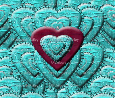 Hearts Stitched on Hearts