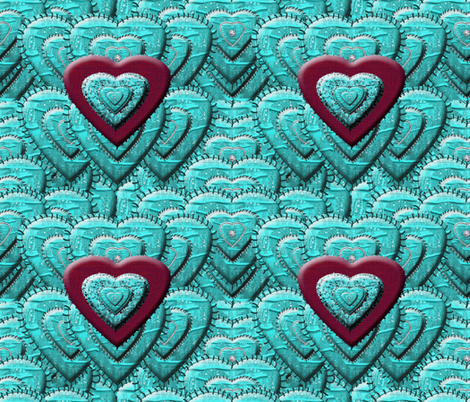 Hearts Stitched on Hearts fabric by anniedeb on Spoonflower - custom fabric