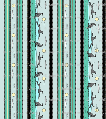 Frolicking Greyhounds, green grey stripes