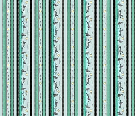 Frolicking Greyhounds, green grey stripes fabric by artbyjanewalker on Spoonflower - custom fabric