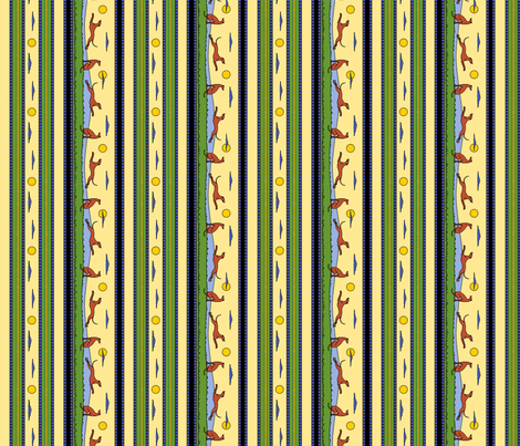 Frolicking Greyhounds, multicolor stripes fabric by artbyjanewalker on Spoonflower - custom fabric
