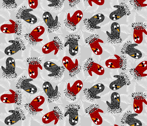 bird mittens = twittens fabric by glimmericks on Spoonflower - custom fabric