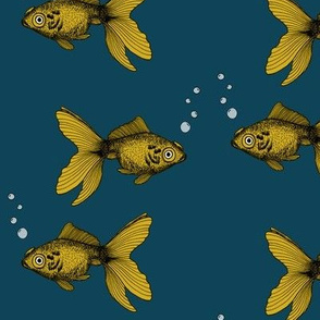 Goldfish Mustard and Teal