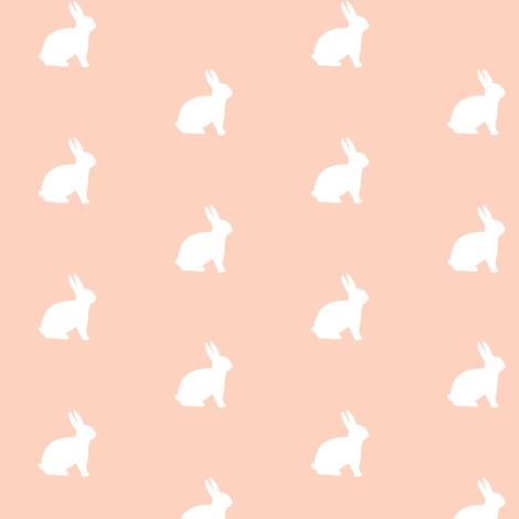 White Bunny Soft Peach fabric by thistleandfox on Spoonflower - custom fabric