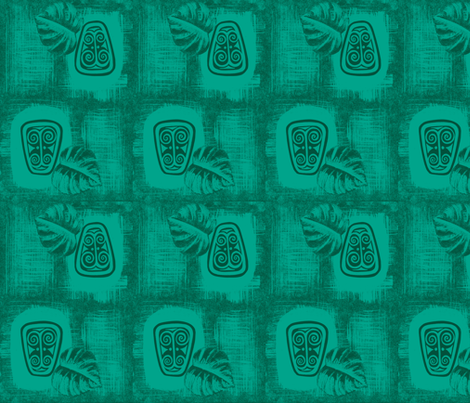 Spirit of Havaiki in mono-blue fabric by sophista-tiki_by_dawn_frasier on Spoonflower - custom fabric
