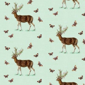 Deer & Butterflies, Seafoam Green
