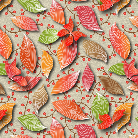 automne feuilles papillon trompe l'oeil  fabric by vo_aka_virginiao on Spoonflower - custom fabric