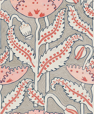 Antique Poppy in Coral, Gray and Navy